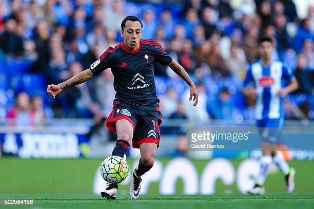 Fabian Orellana of RC Celta de Vigo runs with the ball during the La Liga match between Real CD Espanyol and Celta Vigo at CornellaEl Prat Stadium on...
