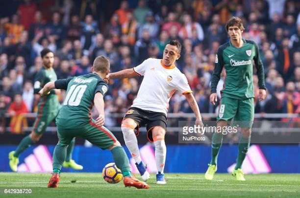 Fabian Orellana of Valencia CF and Iker Muniain of Athletic Club de Bilbao during their La Liga match between Valencia CF and Athletic Club de Bilbao...
