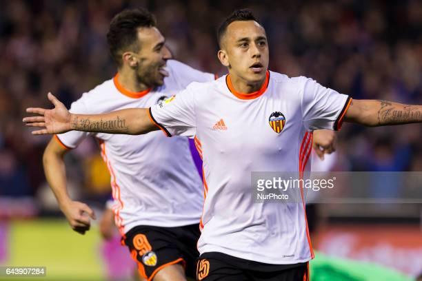 15 Fabian Orellana of Valencia CF celebrate after scoring the 20 goal with his teammate 09 Munir El Haddadi of Valencia CF during the Spanish La Liga...