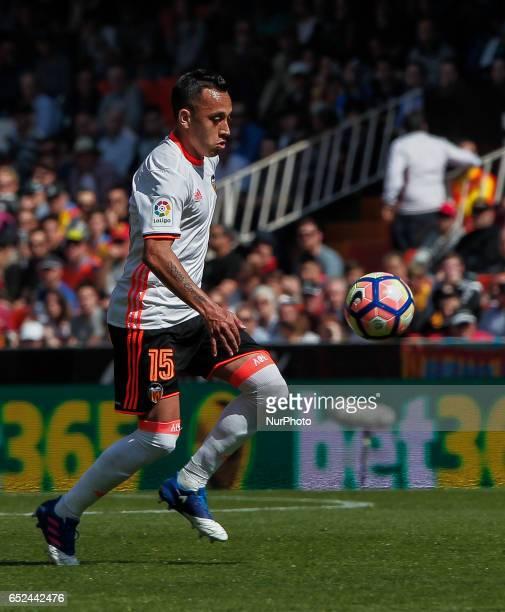 15 Fabian Orellana of Valencia CF during the Spanish La Liga Santander soccer match between Valencia CF vs Real Sporting de Gijon at Mestalla Stadium...