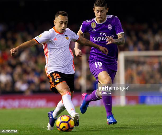15 Fabian Orellana of Valencia CF in action against 10 James Rodriguez of Real Madrid during the Spanish La Liga Santander soccer match between...