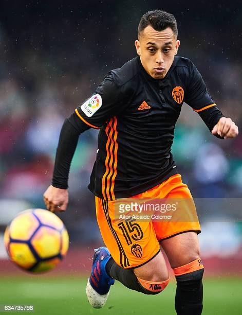 Fabian Orellana of Valencia CF in action during La Liga match between Real Betis Balompie and Valencia CF at Benito Villamarin Stadium on February 11...
