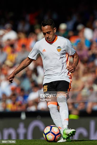 Fabian Orellana of Valencia CF with the ball during the La Liga match between Valencia CF and Sevilla FC at Mestalla stadium on April 16 2017 in...