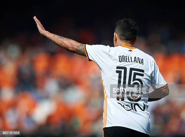 Fabian Orellana of Valencia during the La Liga match between Valencia CF and Real Sporting de Gijon at Mestalla Stadium on March 11 2017 in Valencia...