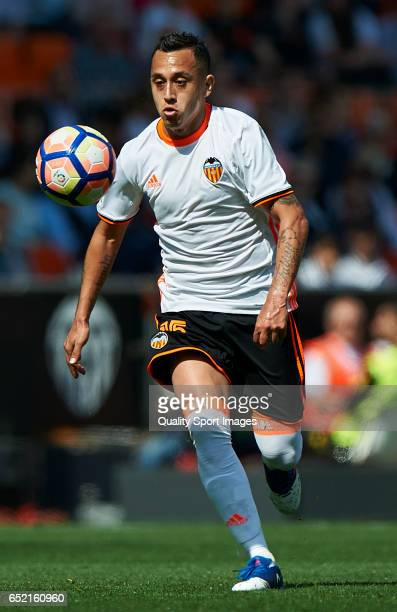 Fabian Orellana of Valencia in action during the La Liga match between Valencia CF and Real Sporting de Gijon at Mestalla Stadium on March 11 2017 in...