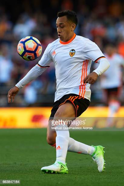 Fabian Orellana of Valencia in action during the La Liga match between Valencia CF and Deportivo de La Coruna at Mestalla Stadium on April 2 2017 in...