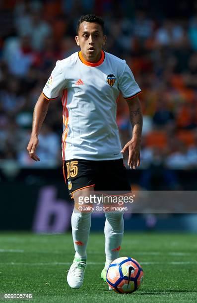 Fabian Orellana of Valencia in action during the La Liga match between Valencia CF and Sevilla FC at Mestalla Stadium on April 16 2017 in Valencia...
