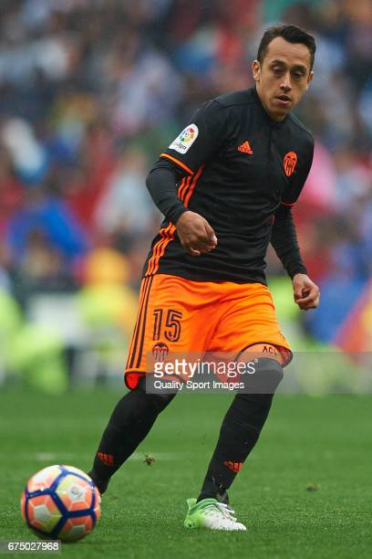 Fabian Orellana of Valencia in action during the La Liga match between Real Madrid CF and Valencia CF at Estadio Santiago Bernabeu on April 29 2017...