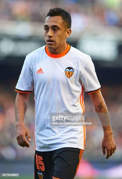 Fabian Orellana of Valencia looks on during the La Liga match between Valencia CF and Athletic Club at Mestalla Stadium on February 19 2017 in...