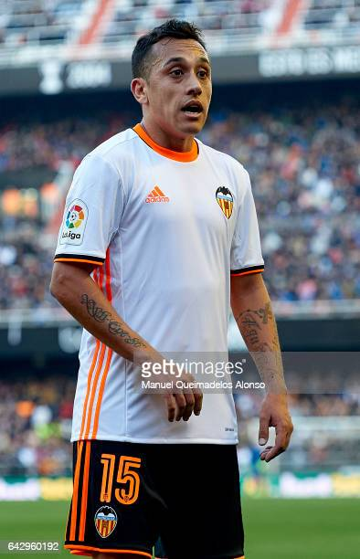 Fabian Orellana of Valencia looks on during the La Liga match between Valencia CF and Athletic Club at Mestalla Stadium on February 19 2017 in...