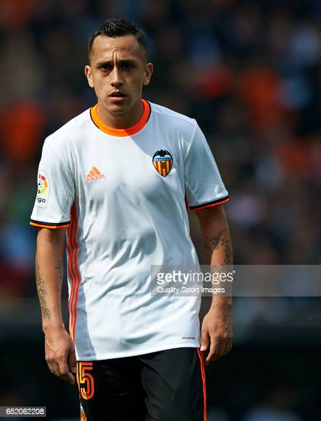 Fabian Orellana of Valencia looks on during the La Liga match between Valencia CF and Real Sporting de Gijon at Mestalla Stadium on March 11 2017 in...