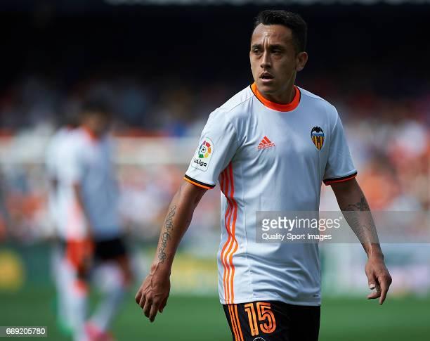 Fabian Orellana of Valencia looks on during the La Liga match between Valencia CF and Sevilla FC at Mestalla Stadium on April 16 2017 in Valencia...