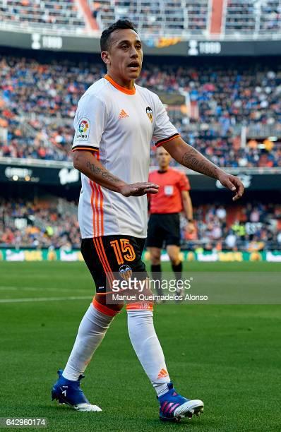 Fabian Orellana of Valencia reacts during the La Liga match between Valencia CF and Athletic Club at Mestalla Stadium on February 19 2017 in Valencia...