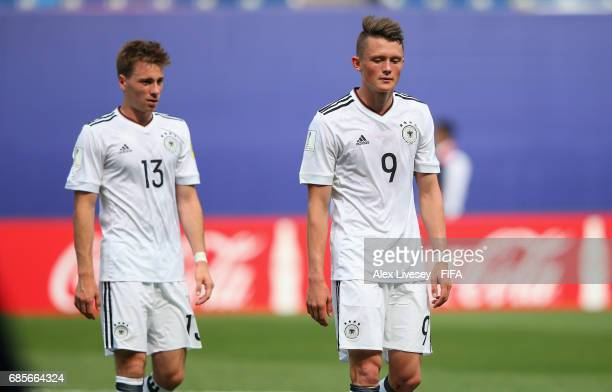 Fabian Reese and Matthias Bader of Germany looks dejected after the FIFA U20 World Cup Korea Republic 2017 group B match between Venezuela and...
