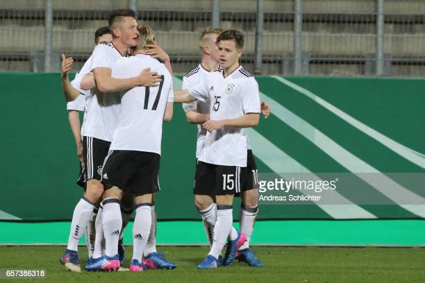 Fabian Reese celebrate with Justin Moebius of Germany during the U20 Germany vs U20 Switzerland International FriendlyMatch on March 23 2017 in...