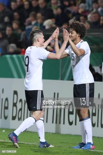 Fabian Reese Emmanuel Iyoha of Germany during the U20 Germany vs U20 Switzerland International FriendlyMatch on March 23 2017 in Neunkirchen Germany