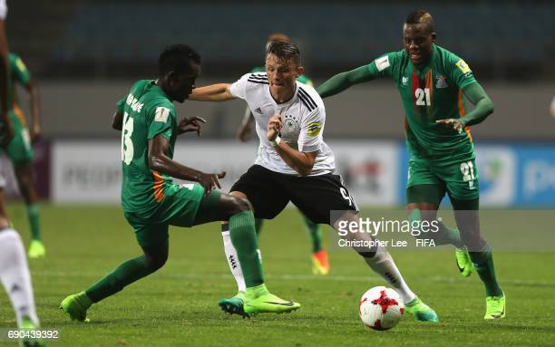 Fabian Reese of Germany battles with Shemmy Mayembe of Zambia and Boyd Musonda of Zambia during the FIFA U20 World Cup Korea Republic 2017 Round of...