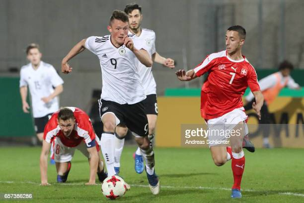 Fabian Reese of Germany challenges Joao Oliveira during the U20 Germany vs U20 Switzerland International FriendlyMatch on March 23 2017 in...
