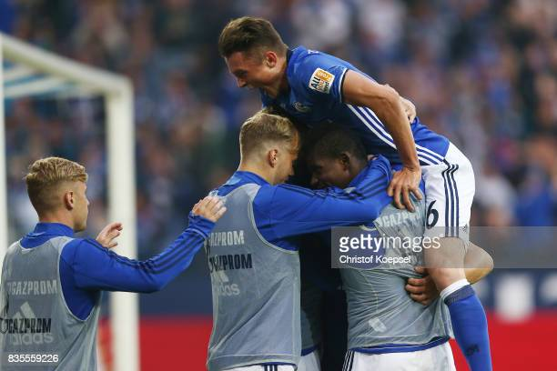 Fabian Reese of Schalke celebrates with team mates following the goal of Yevhen Konoplynka of Schalke to make it 20 during the Bundesliga match...