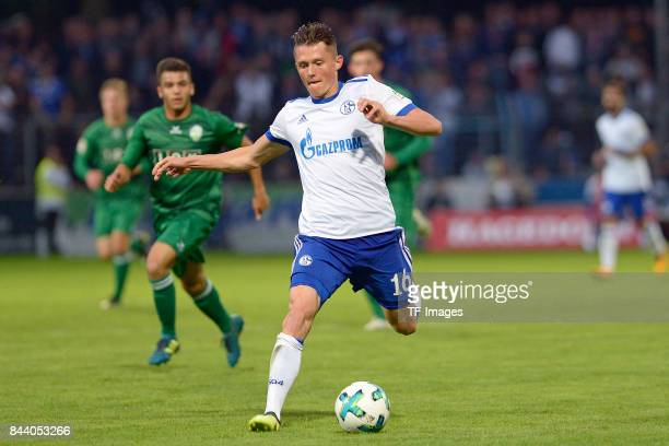 Fabian Reese of Schalke in action during the preseason friendly match between FC Gütersloh and FC Schalke 04 on August 31 2017 in Gütersloh Germany