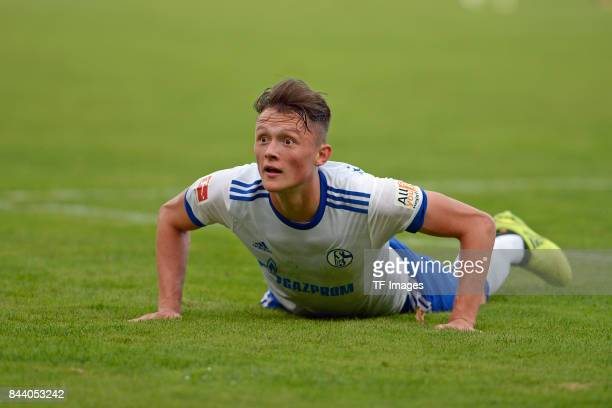 Fabian Reese of Schalke on the ground during the preseason friendly match between FC Gütersloh and FC Schalke 04 on August 31 2017 in Gütersloh...