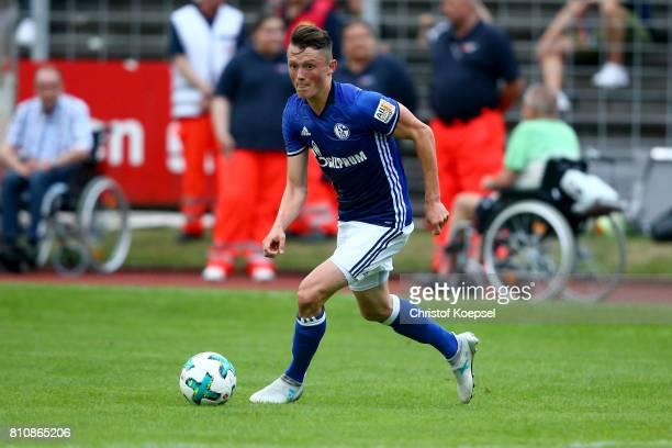 Fabian Reese of Schalke runs with the ball during the preseason friendly match between SpVgg Erkenschwick and FC Schalke 04 at Stimberg Stadium on...