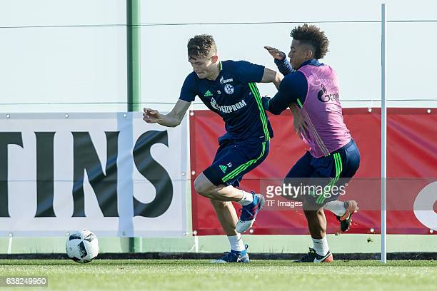 Fabian Reese of Schalkeand Thilo Kehrer of Schalke battle for the ball during the Training Camp of FC Schalke 04 at Hotel Melia Villaitana on January...