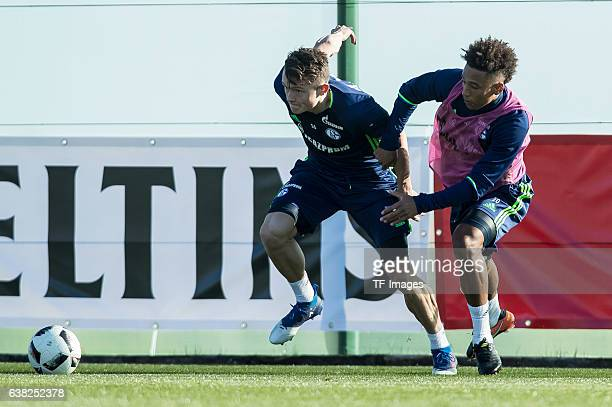Fabian Reese of Schalkeand Thilo Kehrer of Schalke battle for the ball during the Training Camp of FC Schalke 04 at Hotel Melia Villaitana on January...