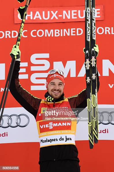Fabian Riessle of Germany celebrates on the podium after the FIS Nordic World Cup Men's Nordic Combined HS118/10km on January 24 2016 in ChauxNeuve...