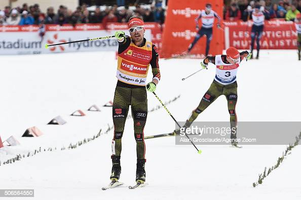 Fabian Riessle of Germany celebrates taking 1st place during the FIS Nordic World Cup Men's Nordic Combined HS118/10km on January 24 2016 in...