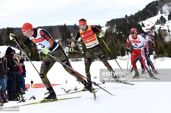 Fabian Riessle of Germany competes on his way to taking 1st place during the FIS Nordic World Cup Men's Nordic Combined HS118/10km on January 24 2016...