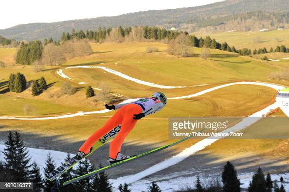 Fabian Riessle of Germany takes 1st place during the FIS Nordic Combined World Cup Team Sprint on January 12 2014 in ChauxNeuve France