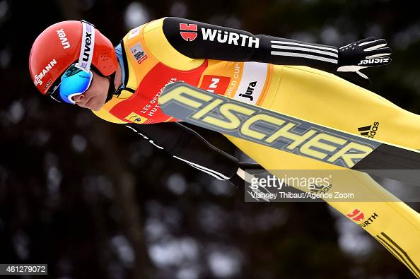 Fabian Riessle of Germany takes 2nd place during the FIS Nordic Combined World Cup HS118/10km on January 10 2015 in ChauxNeuve France