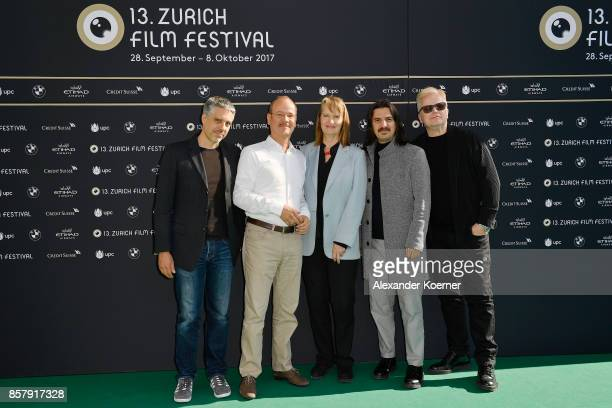 Fabian Roemer Frank Strobel Anne Dudley Erhan Yueruek and Herbert Groenemeyer pose at the International Film Music Competition photocall during the...