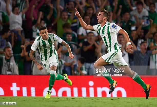 Fabian Ruiz of Real Betis Balompie celebrates after scoring during the La Liga match between Real Betis and Levante at Estadio Benito Villamarin on...