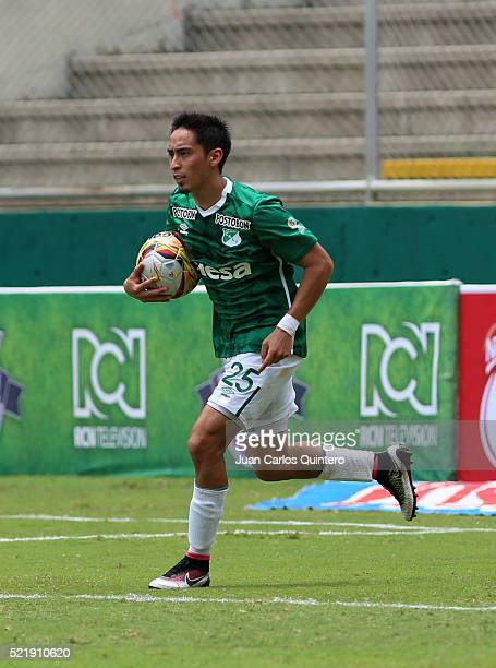 Fabian Sambueza of Cali celebrates after scoring the first goal of his team through a penalty kick during a match between Deportivo Cali and...