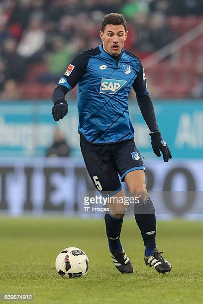 Fabian Schaer of 1899 Hoffenheim in action during the Bundesliga match between FC Augsburg and TSG 1899 Hoffenheim at WWK Arena on January 21 2017 in...