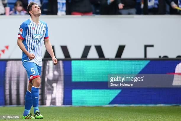 Fabian Schaer of Hoffenheim celebrates his team's first goal during the Bundesliga match between 1899 Hoffenheim and Hertha BSC at Wirsol...