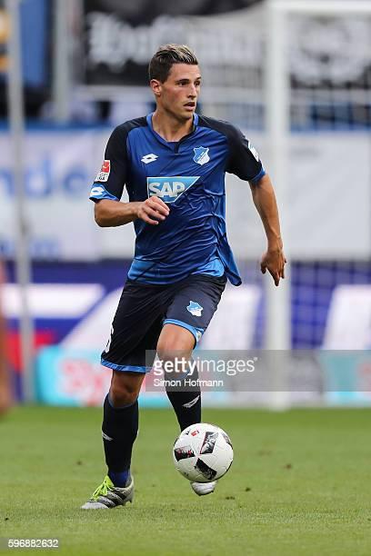 Fabian Schaer of Hoffenheim controls the ball during the Bundesliga match between TSG 1899 Hoffenheim and RB Leipzig at Wirsol RheinNeckarArena on...