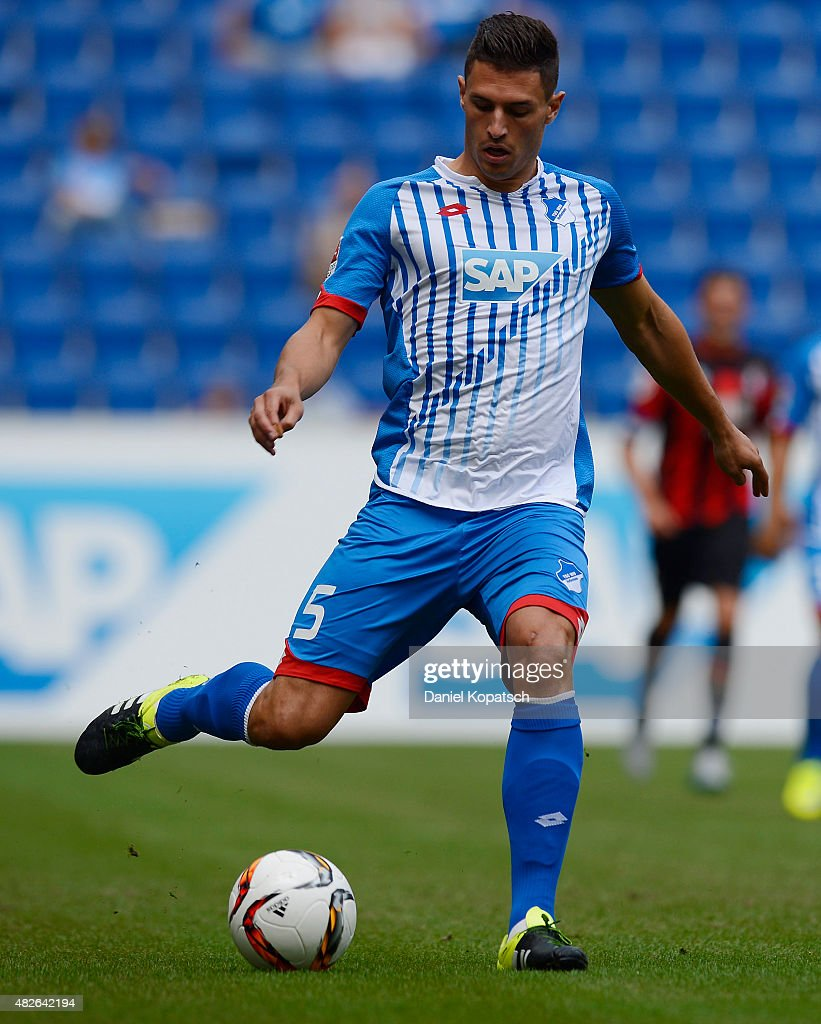 Fabian Schaer of Hoffenheim controls the ball during the friendly match between 1899 Hoffenheim and AFC Bournemouth at Wirsol Rhein-Neckar-Arena on August 1, 2015 in Sinsheim, Germany.