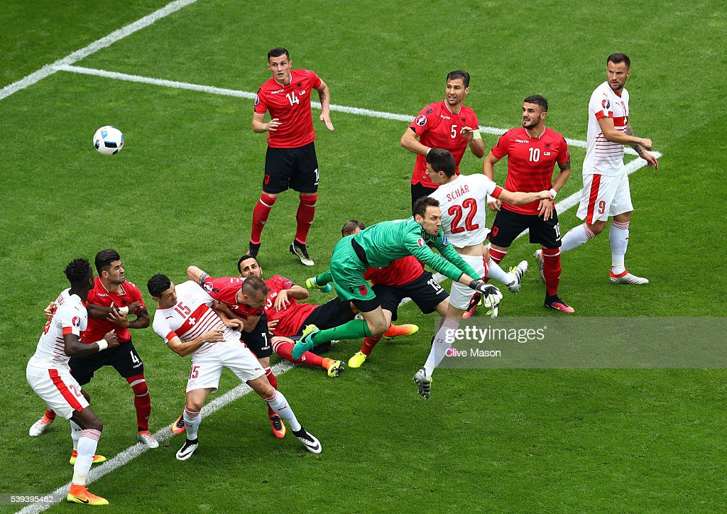 Fabian Schaer of Switzerland heads the ball to score his team's first goal during the UEFA EURO 2016 Group A match between Albania and Switzerland at Stade Bollaert-Delelis on June 11, 2016 in Lens, France.