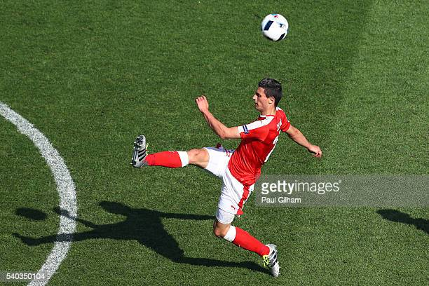 Fabian Schaer of Switzerland in action during the UEFA EURO 2016 Group A match between Romania and Switzerland at Parc des Princes on June 15 2016 in...