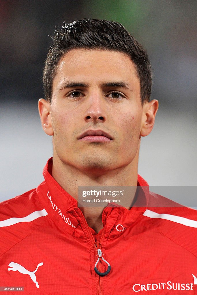 Fabian Schaer of Switzerland looks on during the anthem prior to the UEFA EURO 2016 qualifier between Switzerland and San Marino at AFG Arena on October 9, 2015 in St Gallen, Switzerland.