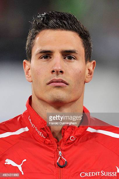 Fabian Schaer of Switzerland looks on during the anthem prior to the UEFA EURO 2016 qualifier between Switzerland and San Marino at AFG Arena on...