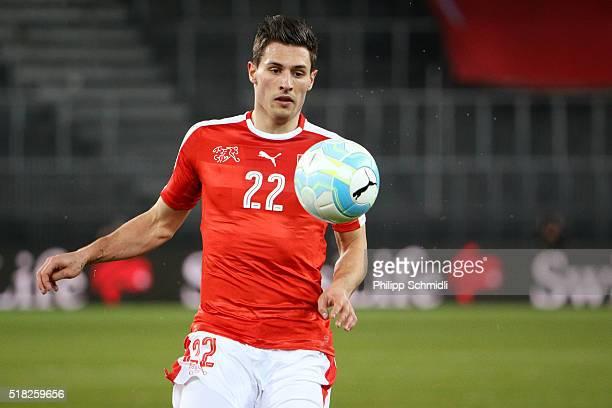 Fabian Schaer of Switzerland runs with the ball during the international friendly match between Switzerland and BosniaHerzegovina at Stadium...