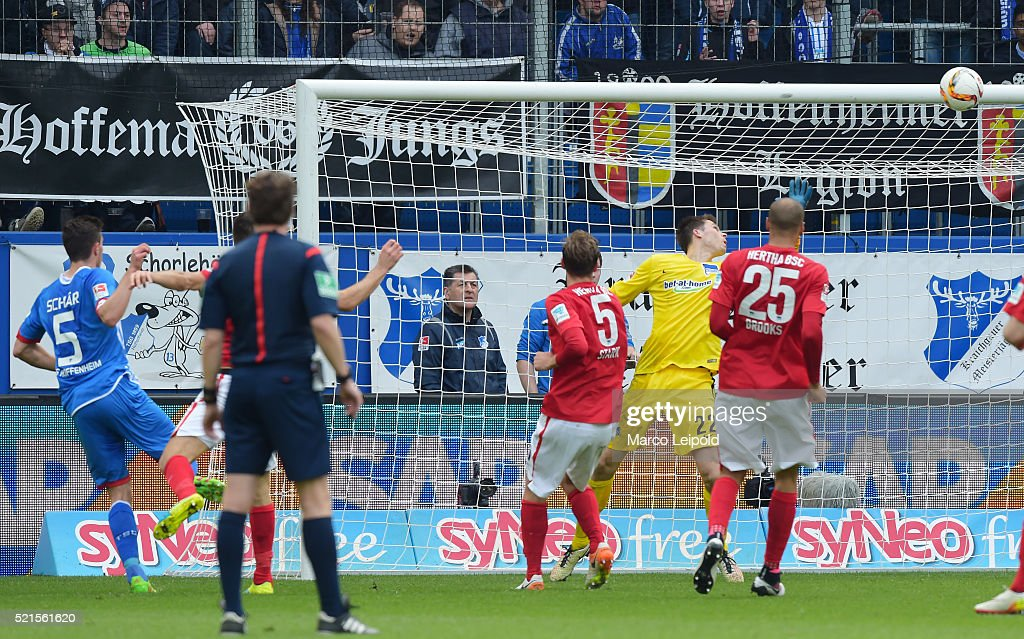 Fabian Schaer of TSG 1899 Hoffenheim scores the 1:1 against <a gi-track='captionPersonalityLinkClicked' href=/galleries/search?phrase=Rune+Almenning+Jarstein&family=editorial&specificpeople=5365070 ng-click='$event.stopPropagation()'>Rune Almenning Jarstein</a> of Hertha BSC during the Bundesliga match between 1899 Hoffenheim and Hertha BSC on April 16, 2016 in Sinsheim, Germany.