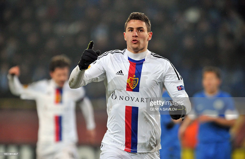 Fabian Schar of Basel celebrates after scoring to FC Dnipro during UEFA Europa League, Round 32, football match in Dnipropetrovsk on February 21, 2013. AFP PHOTO/ GENYA SAVILOV