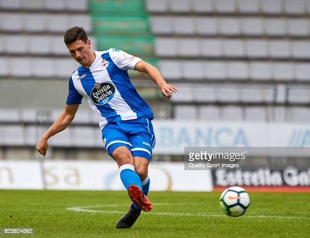 Fabian Schar of Deportivo de La Coruna in action during the preseason friendly match between Racing de Ferrol and Deportivo de La Coruna on July 27...