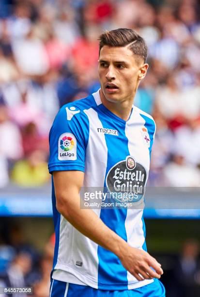 Fabian Schar of Deportivo de La Coruna looks on during the La Liga match between Deportivo La Coruna and Real Sociedad at Riazor Abanca Stadium on...