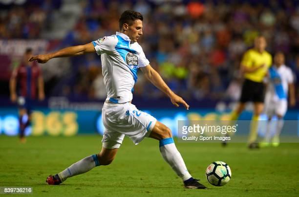 Fabian Schar of Deportivo in action during the La Liga match between Levante and Deportivo La Coruna at Ciutat de Valencia on August 26 2017 in...